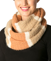 Pure Style Girlfriends Taupe Fuzzy Stripe Infinity Scarf