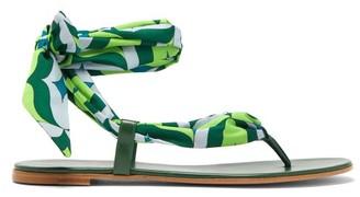 Gianvito Rossi Fez Satin-tie Leather Sandals - Womens - Green Multi