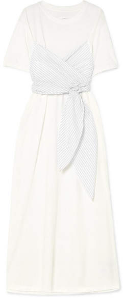 MM6 MAISON MARGIELA Pinstriped Poplin-paneled Cotton-jersey Maxi Dress