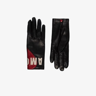 Agnelle black Amour embroidered leather gloves