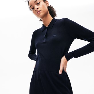 Lacoste Women's Fitted Striped Wool Polo Dress