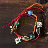 Leather and ceramic charm bracelet, 'Maya Destiny'