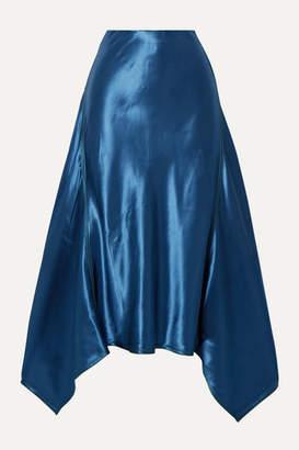 Sies Marjan Darby Asymmetric Satin Midi Skirt - Blue