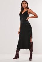 Missguided Black Satin Lace Slip Midi Dress