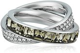 "Michael Kors Core"" Silver-Tone and Cubic Zirconia Interlocking Ring, Size 5"