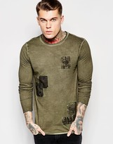 Asos Longline Long Sleeve T-Shirt With Applique And Distressed Pigment Wash
