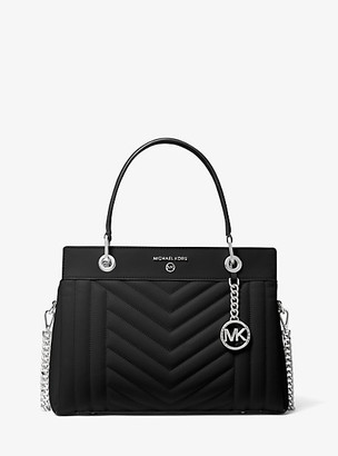 MICHAEL Michael Kors MK Susan Medium Quilted Leather Satchel - Black - Michael Kors