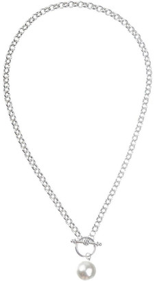 Gregory Ladner Faux Pearl Fob Chain Necklace