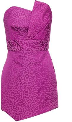 Mason by Michelle Mason Strapless Pleated Cotton-blend Leopard-jacquard Mini Dress