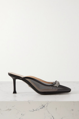 Cesare Paciotti Chain-embellished Leather-trimmed Mesh Mules - Black