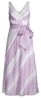 Rebecca Taylor Striped Tie-Waist Midi Dress