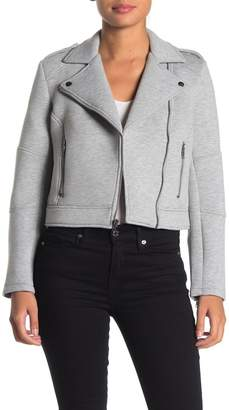 Cupcakes And Cashmere Heathered Knit Cropped Moto Jacket