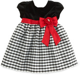 Sorbet Velvet-Bodice Plaid-Skirt Dress, 12-24 Months