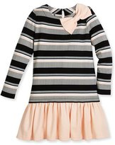 Kate Spade Long-Sleeve Striped Flounce Dress, Black/White, Size 7-14