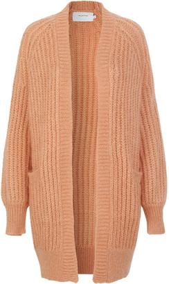 MUNTHE Orange Mohair Acrylic Nadeen Knit Long Cardigan - 36 - Orange/Wood