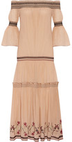 Rachel Zoe Cassidee Off-the-shoulder Embroidered Silk-chiffon Dress - Blush