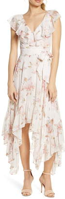 Ever New Floral Print Handkerchief Hem Maxi Dress