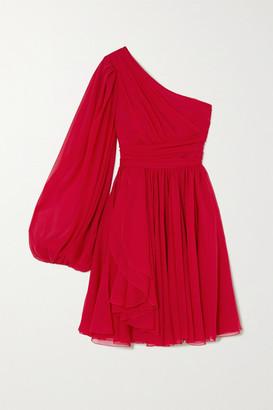 Giambattista Valli One-sleeve Draped Silk-georgette Dress - Red