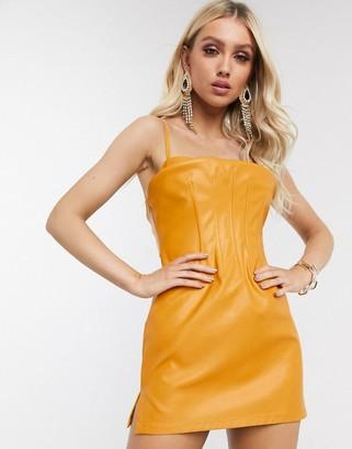 ASOS DESIGN corset strappy mini dress in PU