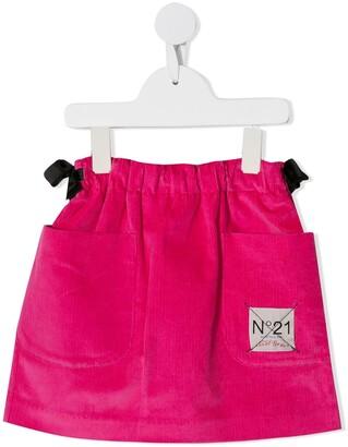 No.21 Kids logo patch corduroy skirt