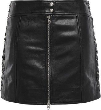 McQ Lace-up Leather Mini Skirt