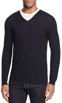 The Men's Store at Bloomingdale's Extrafine Merino Wool Pique Stitch V Neck Sweater
