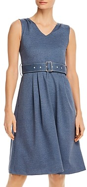 T Tahari Belted V-Neck Midi Dress