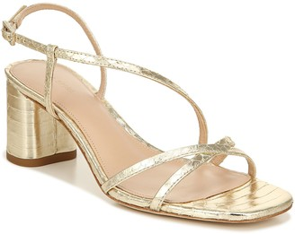 Via Spiga Strappy Metallic Leather Mid-Heel Sandals - Roslyn