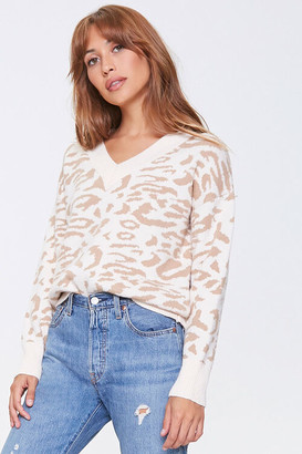 Forever 21 Animal Print V-Neck Sweater