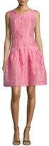 Talbot Runhof Koena Sleeveless Fit-&-Flare Dress, Strawberry (Fraise)