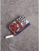 Burberry Doodle Print Coated Canvas Ziparound Coin Case