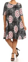 Private Label Women's Plus Size Print Short Sleeves Midi Dress. MADE IN USA
