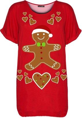 Fashion Star Womens Xmas Santa Reindeer Oversized T Shirt Reindeer Wall Red S/M (UK 8/10)