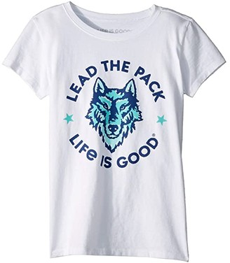 Life is Good Lead the Pack Crushertm Tee (Little Kids/Big Kids) (Cloud White) Girl's T Shirt