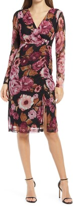 Connected Apparel Floral Print Ruched Long Sleeve Dress