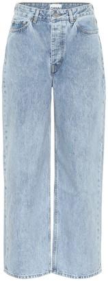 Ganni HIgh-rise cotton wide-leg jeans