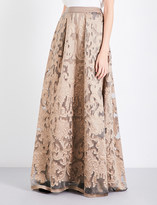Alberta Ferretti Box-pleated fil coupé maxi skirt