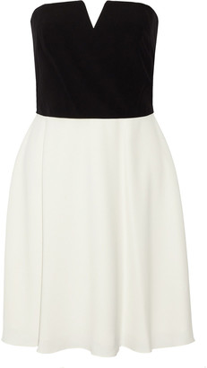 Halston Strapless Two-tone Cady Mini Dress