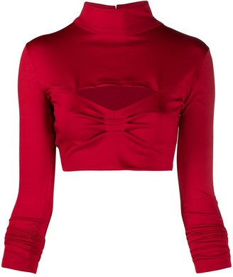 Atu Body Couture Mock Neck Jersey Cropped Top