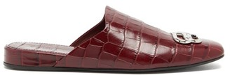 Balenciaga Cosy Bb-plaque Crocodile-effect Backless Loafers - Burgundy