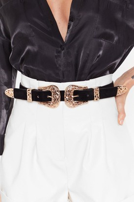 Nasty Gal Womens Double Up Faux Suede Western Belt - Black - One Size