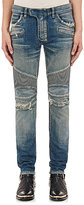 Balmain Men's Washed Skinny Biker Jeans-BLUE
