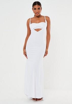Missguided Scuba Crepe Bandeau Insert Maxi Dress