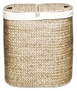 Seville Classics Water Hyacinth Lidded Oval Double Hamper