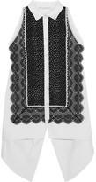 Antonio Berardi Guipure Lace-paneled Cotton Top - Black