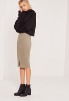 Missguided High Waisted Tube Midi Skirt Khaki