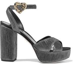 Dolce & Gabbana Embellished Ribbed Lame Platform Sandals