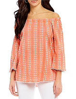 Westbound Off-the-Shoulder 3/4 Sleeve Printed Peasant Top