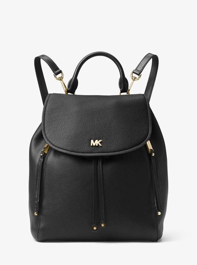 76a553876ae1f1 Black Pebbled Leather Backpack - ShopStyle