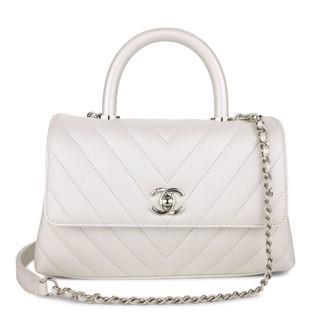 Chanel Coco Handle White Leather Handbags